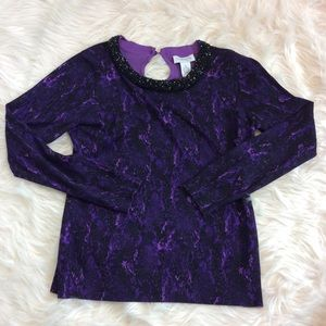 Carmen Marc Valvo Purple Python Beaded Sweater M